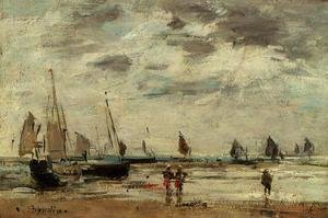 Eugène Boudin - Berck, Jetty and Sailing Boats at Low Tide