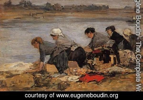 Eugène Boudin - Laundresses on the Banks of the Touques XI