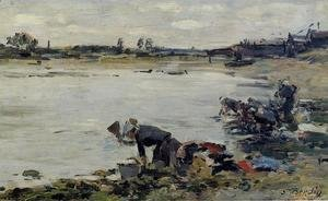 Eugène Boudin - Laundresses on the Banks of the Touques XII