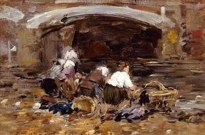 Eugène Boudin - Laundresses near a Bridge