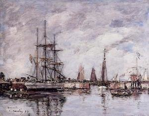 Eugène Boudin - Deauville, Norwegian Three-Master Leaving Port
