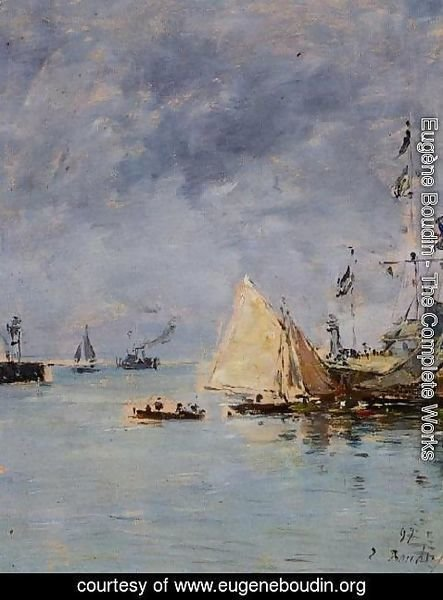 Eugène Boudin - Trouville, the Jettys, High Tide