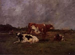 Eugène Boudin - Cows in Pasture