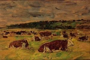 Eugène Boudin - Cows in the Pasture I