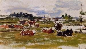 Eugène Boudin - Cows in Pasture I