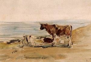 Eugène Boudin - Cows near the Shore