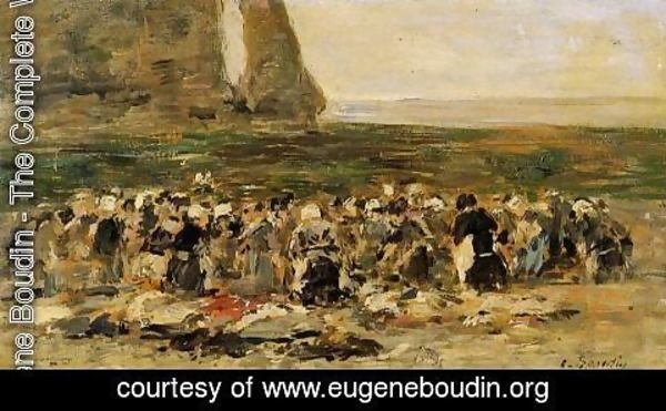 Eugène Boudin - Laundresses at Etretat
