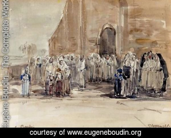Eugène Boudin - Leaving Mass at Plougastel
