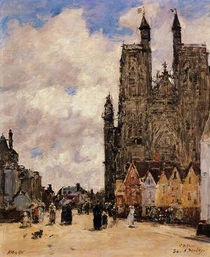Eugène Boudin - Abbeville, Street and the Church of Saint-Folfran