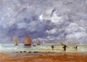 Eugène Boudin - Fishermen and Sailboats near Trouville
