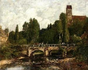 Eugène Boudin - Saint-Cenery, the Church and the Bridge