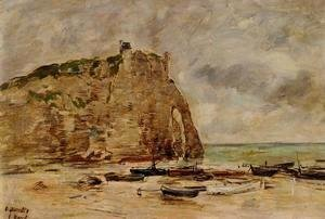 Eugène Boudin - Etretat, Beached Boats and the Cliff of Aval