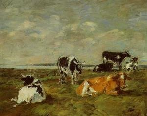 Eugène Boudin - Cows near the Sea