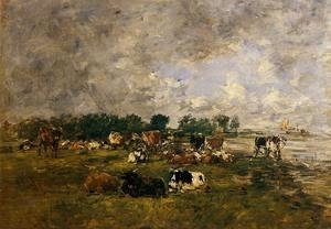 Eugène Boudin - Cows in the Fields