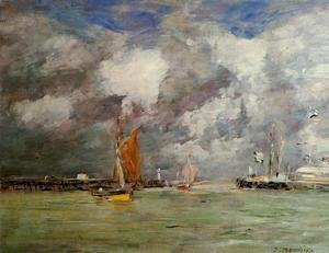 Eugène Boudin - Trouville, the Jettys, High Tide II