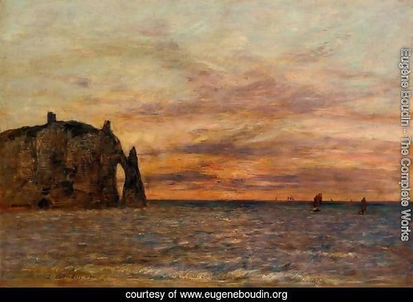 Etretat: the Falaise d'Aval at Sunset