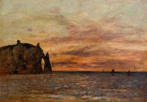 Eugène Boudin - Etretat: the Falaise d'Aval at Sunset