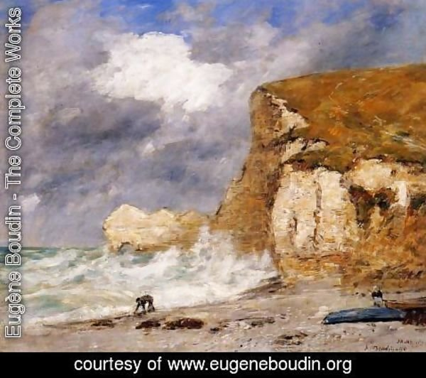 Eugène Boudin - Etretat: the Amont Cliff in November