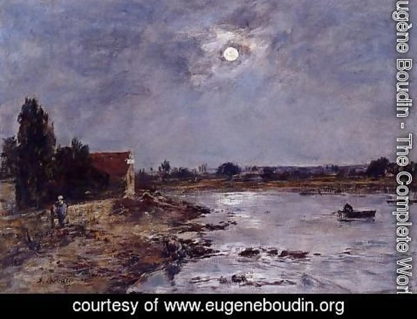 Eugène Boudin - The Banks of the Touques - Moonlight