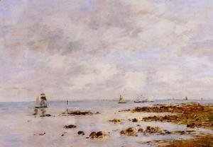 Eugène Boudin - Low Tide at Saint-Vaast-la-Hougue