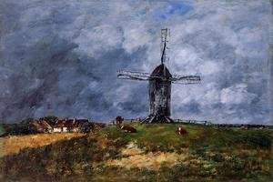 Eugène Boudin - Cayeux, Windmill in the Countryside, Morning