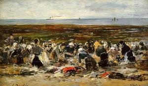 Eugène Boudin - Etretat, Laundresses on the Beach, Low Tide