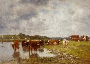Eugène Boudin - Cows in a Meadow on the Banks of the Toques