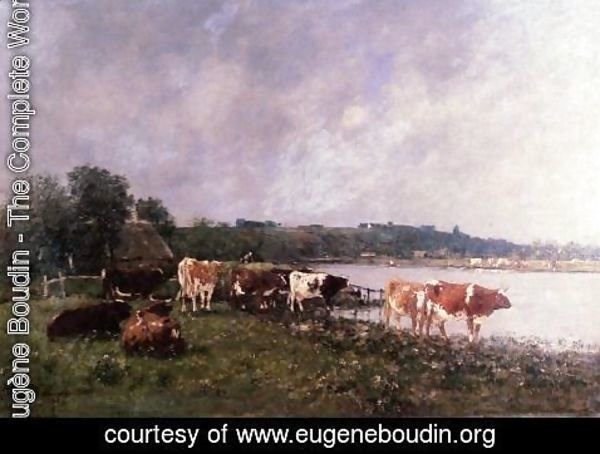 Eugène Boudin - Cows on the Riverbanks of the Touques