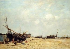 Eugène Boudin - Fishing Boats Aground and at Sea