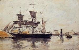 Eugène Boudin - Three Masted Ship at Dock