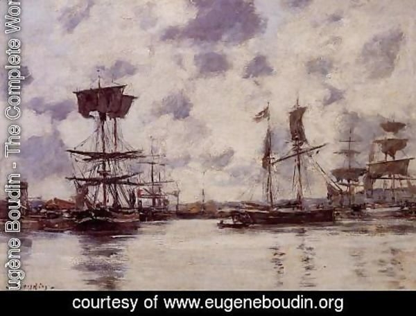 Eugène Boudin - Sailing Boats at Anchor