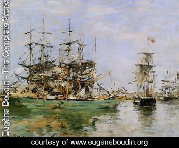 Eugène Boudin - A Three Masted Ship in Port