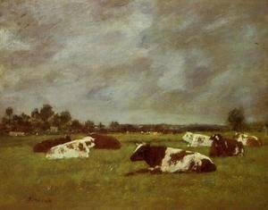Eugène Boudin - Cows in a Meadow, Morning Effect