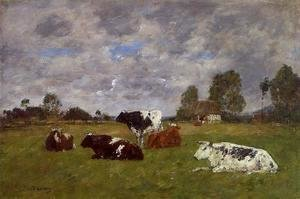 Eugène Boudin - Cows in a Pasture