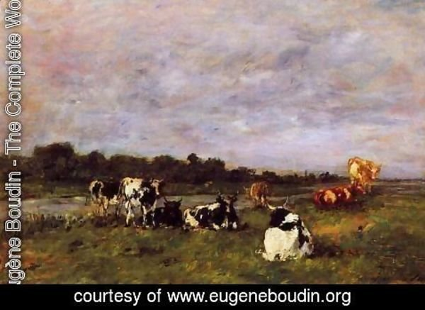 Eugène Boudin - A Pasture on the Banks of the Touques
