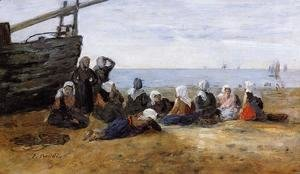 Eugène Boudin - Berck, Group of Fishwomen Seated on the Beach