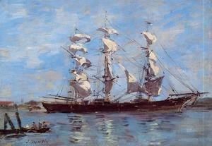 Eugène Boudin - Honfleur, Three Master in Port