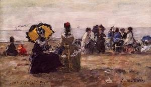 Eugène Boudin - Beach Scene, the Yellow Parasol