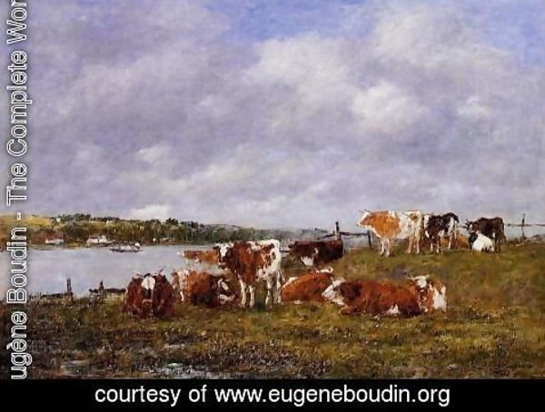 Eugène Boudin - Pasturage, the Valley of the Touques