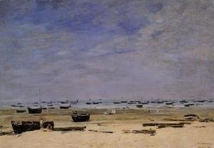 Eugène Boudin - The Coastline at Berck at Low Tide