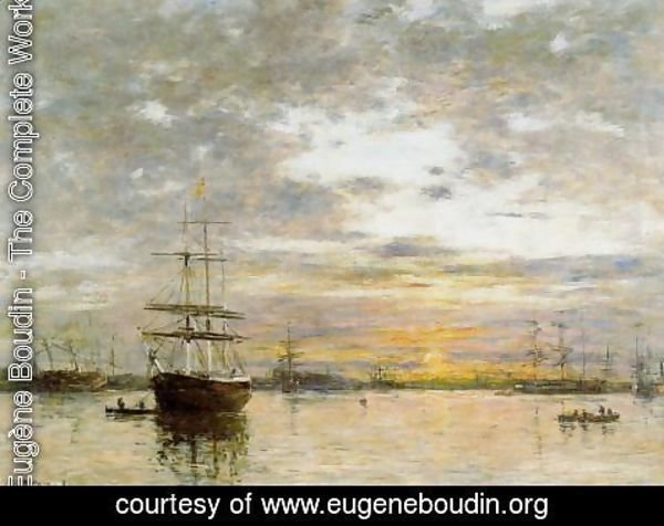 Eugène Boudin - The Port of Le Havre at Sunset