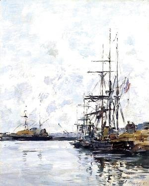 Eugène Boudin - Port, Sailboats at Anchor