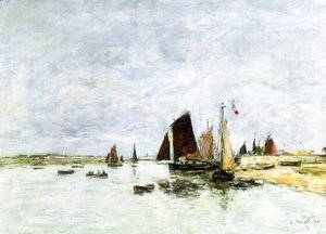Eugène Boudin - Etaples, Boats in Port