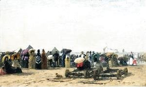 Eugène Boudin - Beach Scene at Trouville