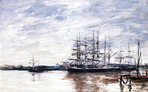 Eugène Boudin - Three Masted Ship in Port, Bordeaux