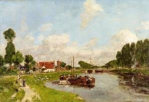 Eugène Boudin - Saint-Velery-sur-Somme, Barges on the Canal