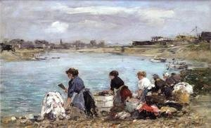 Eugène Boudin - Laundresses on the Banks of the Touques 2