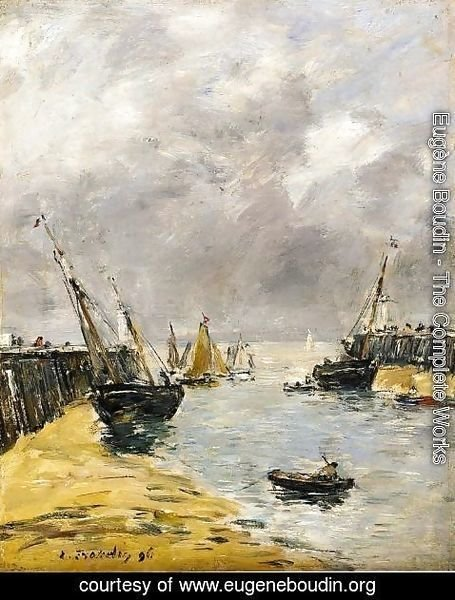 Eugène Boudin - The Jetties, Low Tide, Trouville I