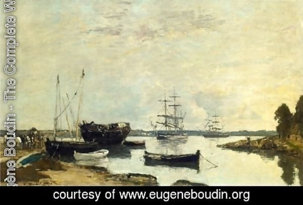 Eugène Boudin - Three Masted Ship in the Harbor