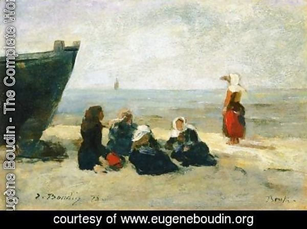 Eugène Boudin - Berck, Fisherwomen Looking for the Return of the Boats
